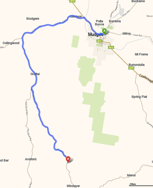 Direction Map Mudgee to Glenayr Farm