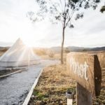 Pinot glamping tent, path and sign