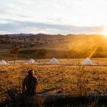 Beautiful sunset with all four luxury glamping tents in view