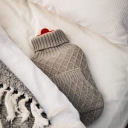 Hot water bottle in tent bed